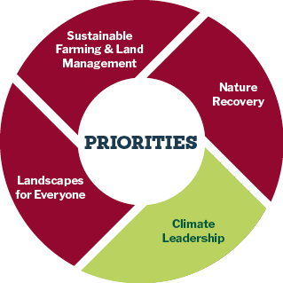 Pie chart showing priorities for climate leadership