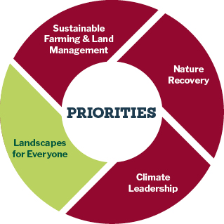 pie chart showing priorities for Landscapes for everyone